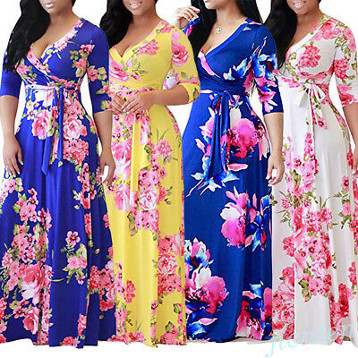 4 Color Women Boho Floral Long Maxi Dress 3/4 Sleeve Summer Beach Charm Sundress