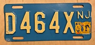 """New Jersey Motorcycle Cycle License Plate """"  D 464 X """" Bike Buff On Blue"""