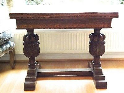 Vintage Antique Oak Early 1900s Draw Leaf Dining Table Carved Pineapple Legs