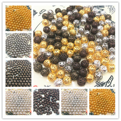4/6/8/10mm Hollow Ball flower Beads Metal Charms Spacer Beads Diy Jewelry Making