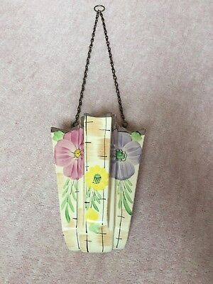 Arthur Wood Art Deco Wall Pocket Vase with 4 chambers Floral Design & chain