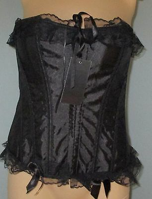Vaacodor Black Boned Liquid Satin Lace Up Corset Bustier Metal Hook Eye  XL