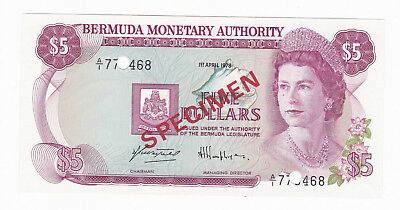 Bermuda 1978 $5 Dollars Specimen Banknote [Gem Unc Condition] [F/ship]