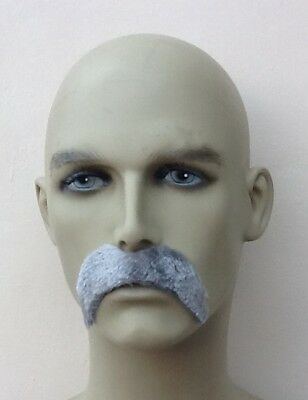 Grey Thick Droop Fancy Dress  Moustache. Self Adhesive, Pirate, Army, Uk Disp