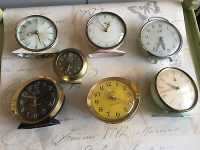 Collection of 7 vintage clocks smiths westclox big baby ben pink green blue