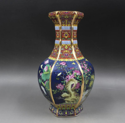 """10""""Chinese antiques  the Qing dynasty  Enamel  Coloured flower and bird vase"""