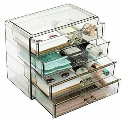 Sorbus Acrylic Cosmetics Makeup and Jewelry Storage – 4 Large Drawers Black