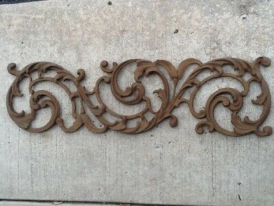 Vintage Salvage Rusted Cast Iron Scroll Leaf Architectural Farmhouse Shabby