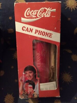 Vintage Coca Cola Classic Phone Push Button Coke Can Telephone in Box Complete