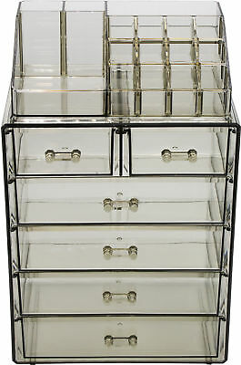 Sorbus Acrylic Cosmetic Makeup and Jewelry Case, 4 Large, 2 Small Drawers, Black