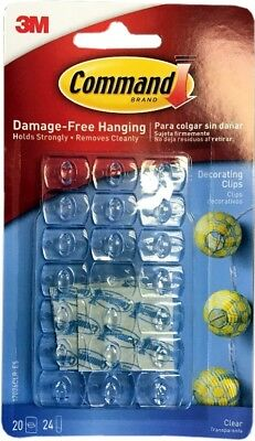 3M Command 20 Pack Mini Clear Self Adhesive Damage Free Strips Decorating Hooks