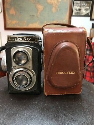Vintage Ciro-Flex Twin Lens Camera Rapax Wollensak 85mm 3.5 Lens Leather Cover