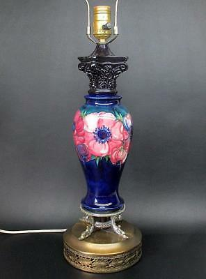 "Vintage Wm Moorcroft Anemone Pattern Cobalt Blue Baluster Style 30"" Table Lamp"