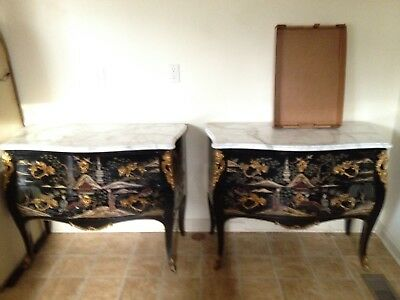 Pair of Reproduction French Commodes with Marble Tops Reduced Price!