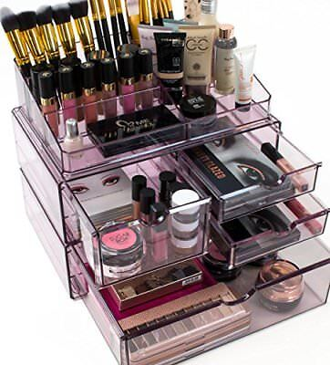 Sorbus Acrylic Cosmetics Makeup Case X-Large Stackable and Interchangeable Purpl