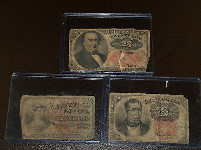 Collection of 3 Circulated United States Fractional Notes - 10c and 25c