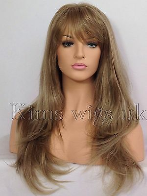 Full Womens Ladies Fashion Hair Long Wig Light Brown/blonde Mix Heat Resist Uk