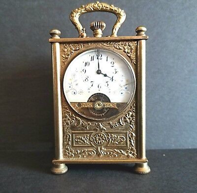 Fine Antique Hebdoma 8 Day Miniature Carriage Clock, Swiss Circle Watch Company