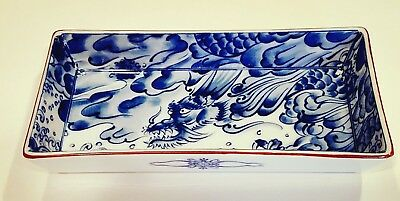 Fitz and Floyd Trinket Tray, Porcelain, Rectangular, Blue White, Dragon, Japan