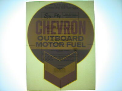 Vintage NOS Original Chevron Outboard Motor Gas Pump Water Transfer Decal Sign