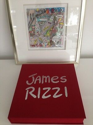 "Original James Rizzi Buch 3D Grafik  ""HIGHWAY TO THE SKY"" mit Originalsignatur"