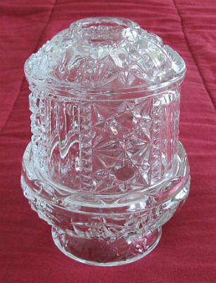 Homco Home Interior INDIANA Clear GLASS Fairy LAMP Stars & Bars CANDLE Holder