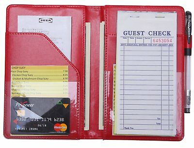 waiter book server wallet server pads waitress book restaurant waitstaff - Red