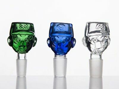 14mm Male Slide Glass Bowl Super Mario Green Clear Blue - Free Shipping