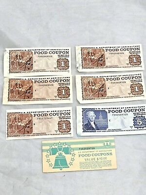 1 New Book of Vintage Food Stamps-Coupons-Value $10.00- 5) 1's and 1) 5