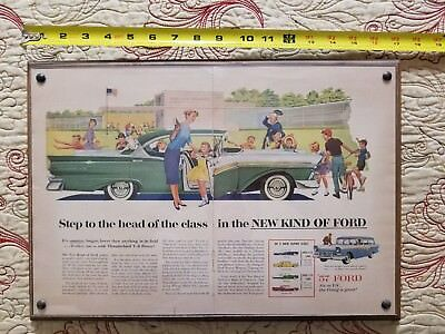 1957 Ford Fairlane 500 Original Color Vintage Mounted Two-Page Ad