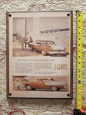 1957 Ford Fairlane 500 Original Color Vintage Mounted Ad