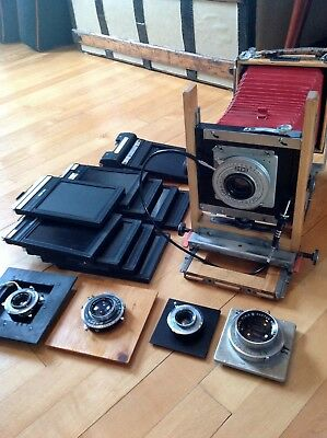 Antique Burke & James View Camera with red bellows - LOTS of extra accessories!!