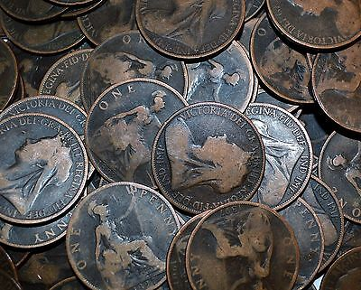 1896 - 1910 GREAT BRITAIN lot 20 COINS penny UK COLLECTIBLES vintage G/VG