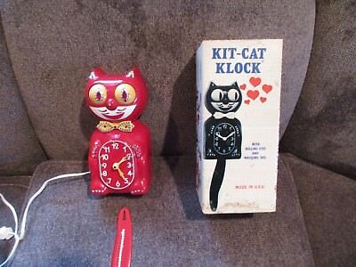 Vintage Kit Cat Klock Works 1984 Electric Red Jeweled With original Box