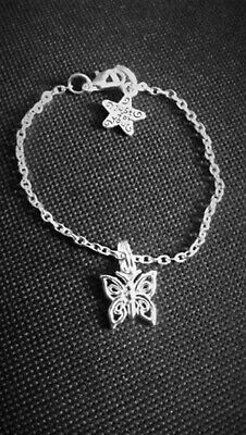 NEW Little Girl's Silver Plated Bracelet and extender Childrens Butterfly Sweet