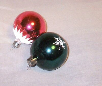 SET OF TWO Vintage Christmas tree ornaments PINK + GREEN glass 1970's