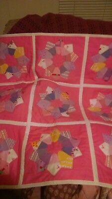 beach ball baby quilt for girl or doll pink and multi colors 38 x 38 In