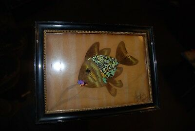 Original Vintage Butterfly Wing Picture-Swimming Fish 1930s by 'Spaj Atkinson'