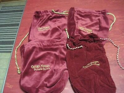 "Lot 4 Captain Morgan Liquor Private Stock Red Gold Suede 9"" Pouch Bag Sack"