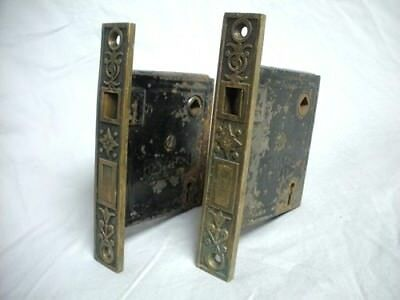 2 Antique Victorian Brass & Cast Iron Door Lock Mortise Ornate Eastlake Hardware