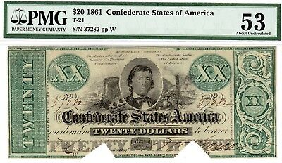 T-21 PF-5 $20 Confederate Paper Money 1861 - PMG About Uncirculated 53 COC!