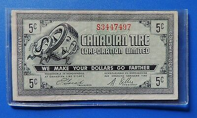 Old CTC Canadian Tire Gas Bar Sasaki / Billes  5 cents  note coupon !