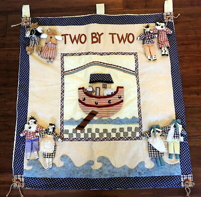 Delton Two By Two Noah Ark Animals Country Hanging Applique Baby Wall Quilt