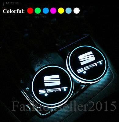 2x for SEAT LED Car Cup Holder Pad Mat Auto Interior Atmosphere Lights Colorful
