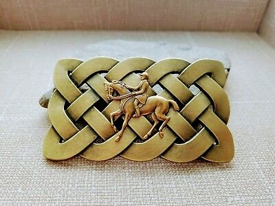 Handmade Oxidized Brass Equestrian Horse Riding Jockey Belt Buckle