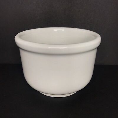 McCoy Ltd Pottery White Bowl Soup Chili Crock Wood and White Line Vtg