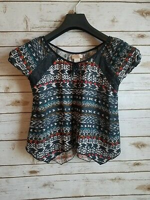 930af012b4c60 zoe & rose band of gypsies Cap Sleeve Navy White Print Crop Top Junior's ...