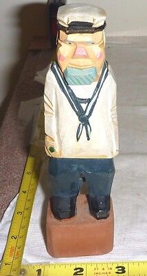 "Vtg Hand Carved WOOD 6"" High SAILOR Figurine - American Folk Art  - VERY NICE!!!"