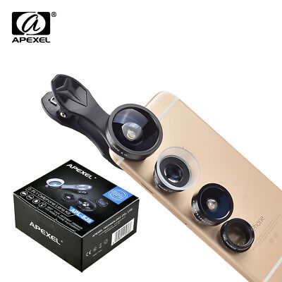 APEXEL Cell Phone Universal 5 in 1 Clip glass Lens Kit for mobile phone fish eye