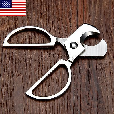 Stainless Steel Double Blades Tobacco Cigar Cutter Knife Tool Scissors US STOCK